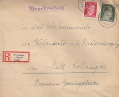 Lettre Rec. (12 + 30pf = 1° éch) De Friedland E Le 22/6/44 Pour Metz + R Friedland (Isergeb) 440 - Cartas