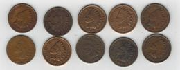 U.S.A. Indian Head Cents, Lot Of 10. Used, See Scan. - Federal Issues