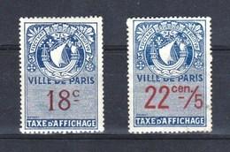 FISCAL TAXE AFFICHAGE VILLE DE PARIS 18** Et 22C/5 Nsg - Fiscale Zegels