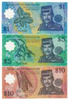 NEGARA BRUNEI DARUSSALAM // 1 & 5 & 10 DOLLARS // POLYMER // UNC - Brunei