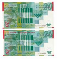 BANK OF ISRAEL // 2 X 20 SHEQALIM // POLYMER // UNC - Israel