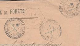 1943 / Enveloppe Eaux Et Forêts Thonnance Les Moulins 52 / CP N°1 Chemin Postal Montier En Der / 3 Cachets Annulés - Marcophilie (Lettres)