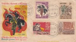Vietnam YT297 / 300 Anniversaire Revolution Lutte Et Construction 1/11/66 .. Cavalier, Soldat, Truelle, Outil Maçon, - Vietnam