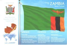 POSTAL   BANDERA DE ZAMBIA - Otras Colecciones