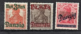 (008) Danzig, 2 Werte * (Falzreste), Mi.-Nr. 29I, 27II -Spitzen Nach Unten, 36b - Territoires Soumis à Plébiscite