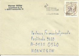 """Germany 1993 Cover With Int Postal Services, Mi 1445 Cancelled """"Messe Frankfurt Anfang Aller Messen 24.06.93"""" - Storia Postale"""