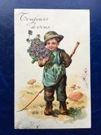 """Embossed-Gaufré-""""Garçon-fleurs-campagne-champignons """"(my Ref 439)-1908 - Illustrateurs & Photographes"""