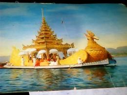 MYANMAR Inle Lake DECORATED BARGE BARCA CON BUDDA BUDBHA  V1966 HJ3379 - Myanmar (Burma)