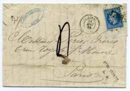 T15 Le Havre + Affranchissement Insuffisant R1 / Dept 74 Seine Inférieure / 1864 - Marcophilie (Lettres)