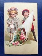 """Embossed-Gaufré-""""Enfants Belle époque-bouquet De Fleurs Géant """"(my Ref 450)-1910 - 1900-1949"""