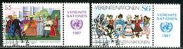 UNO Wien - Mi 75 / 76 Mit TAB - OO Gestempelt (A) 5-6s         Tag Der UNO - Centre International De Vienne