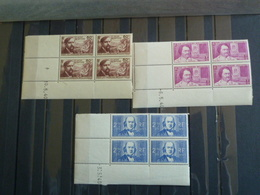 D3 - Coins Datés - Serie YT 462 à 464 N** MNH - Chomeurs Intellectuels - 1940 - Angoli Datati