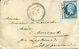 HOUEILLES 20 OCT 65 Cachet Perlé BUREAU DE DISTRIBUTION + GC  1810 + Verso LA PLUME Bureau De Distribution - Poststempel (Briefe)