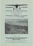 Aviation - Horaires Des Lignes Aériennes - Lausanne-Blécherette - 1939 - Horaires