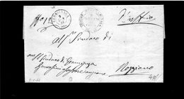 CG1 - Germignaga - Doppio Cerchio Sardo Ital. + Bollo Provincia Di Como - Lett. Per Roggiano 9/1/1866 - Italia