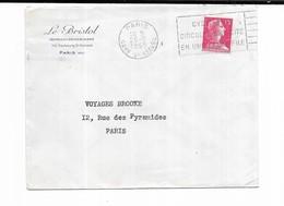 1955 Paris Le Bristol Hotel Restaurant - Marcophilie (Lettres)