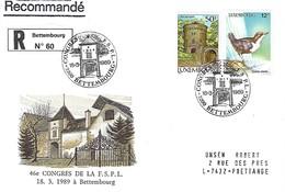 LUXEMBOURG  -  FDC     18.3.1989  -  46e Congrés De La F.S.P.L.à Bettembourg  -  Lettre Recommandé - FDC