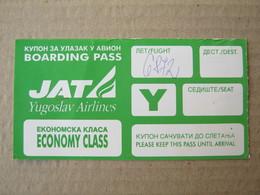 JAT ( Yugoslav Airlines ) / BOARDING PASS - ECONOMY CLASS - Instapkaart