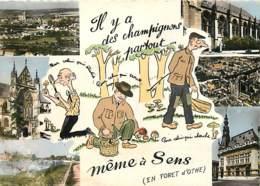 89 - Sens - Multivues - Dessin Il Y A Des Champignons Partous Même à Sens - Voir Scans Recto-Verso - Sens