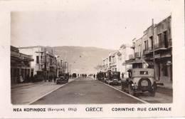 CPA  Photo / Corinthe  (Grece)  Rue Centrale  Avec  Voitures   1935      Ed ?? - Greece