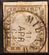 SARDINIA 1863 - Canceled - Sc# 11 - 10c - Sardaigne