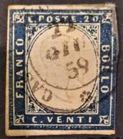 SARDINIA 1862 - Canceled - Sc# 12 - 20c - Repaired On Upper Right Corner ... - Sardaigne