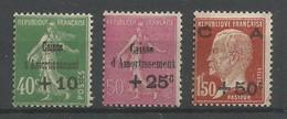 France Yvert Maury Spink 253/55 Série Complète MH / * 1929 Caisse D'Amortissement - France