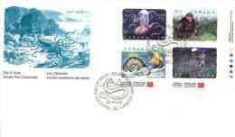 1990  Créatures Fantastiques  Sc 1289-92  Bloc De 4 Différents - Omslagen Van De Eerste Dagen (FDC)
