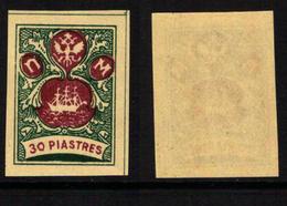 RUSSIA-LEVANT FANTASY, TURKEY - The Small Ship Design - Dark Green/violet 30 Piastres - MNH-OG - Levant