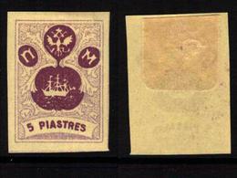 RUSSIA-LEVANT FANTASY, TURKEY - The Small Ship Design - Grey-violet/deep Violet 5 Piastres - MH-OG - Levant