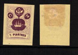RUSSIA-LEVANT FANTASY, TURKEY - The Small Ship Design - Grey-violet/deep Violet 7 Piastres - MH-OG - Levant