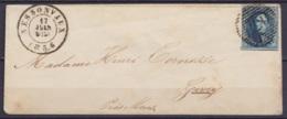 LSC (sans Texte) Affr. N°7 P157 Càd NESSONVEAUX /17 JUIN 1856 Pour GIVRY Près Mons - 1851-1857 Médaillons (6/8)