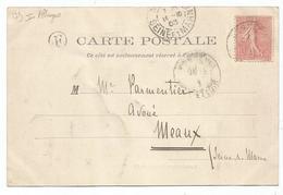 SEMEUSE 10C BONNEVAL EURE ET LOIR CARTE + BOITE F ALLUGES - Marcophilie (Lettres)