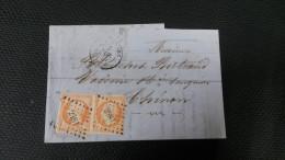 Napoléon III  N° 16 Avec Oblitèration 2481 En Paire  Sur Lettre  TB - 1853-1860 Napoléon III