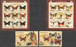 E147 2001 GUINE-BISSAU BUTTERFLIES BORBOLETAS 2BL+2KB MNH - Butterflies