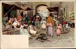 Lithographie Napoli Neapel Campania, Marktszene, Hahn, Gans, Gemüse, - Autres