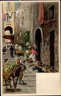 Lithographie Napoli Neapel Campania,Straßenpartie, Markt, Esel, Waren - Italia