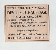 Publicité Deville Chauffage Brûleur à  Choisy Le Roi - Publicités