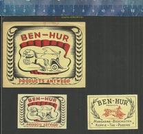 BEN-HUR PRODUCTS ANTWERP MARGARINE BESCHUITEN KOFFIE THE PUDDING (STRIJDWAGEN CHARIOT CHAR)  (matchbox Labels Belgium) - Boites D'allumettes - Etiquettes