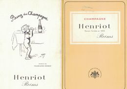 CARTE DES VINS CHAMPAGNE HENRIOT MAISON FONDEE EN 1808 REIMS / ATELIERS FRANOHEL PARIS / - Publicités