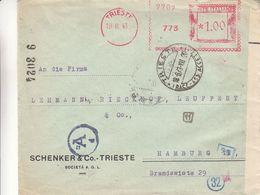 Italie - Lettre De 1943 ° - Oblit Trieste - EMA - Empreintes Machines - Exp Vers Hamburg - Bandelette De Controle - 1900-44 Victor Emmanuel III.