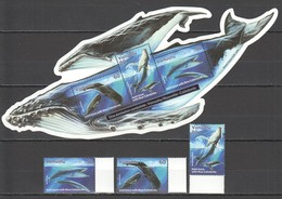 E184 VANUATU MARINE LIFE WHALES 1KB+1SET MNH - Wale