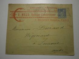 """Enveloppe E. Mazo, Opticien Constructeur, Circuléé En 1900. Au Dos, Publicité Pour Appareil Photo """"Le Bayard"""" (ASp7) - Photography"""