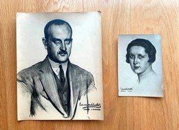 GENERAL PRIMO De RIVERA Y PILAR. Conjunto 2 Fotografias De Quadros Do Pintor EDUARDO MALTA - Célébrités