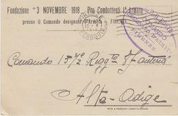 """MILITARI -C - CARTOLINA - FONDAZIONE """"3 NOVEMBRE 1918"""" PRO COMBATTENTI 1^ ARMATA - Oorlog 1939-45"""