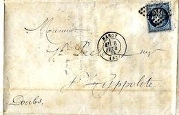 Lettre 1874 / 54 NANCY Salines De Sommerville à J Prelot 25 SAINT HYPPOLITE, Commande Non Conforme - Francia