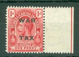 Turks & Caicos Is: 1918   'War Tax' OVPT   SG146    1d   Rose-carmine   MNH - Turks And Caicos