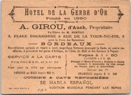 33 BORDEAUX - Carte Publicitaire Hotel De La Gerbe D'or. - Bordeaux