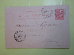 Carte Postale,Timbre Entier Type MOUCHON 10cts Oblitérée Champlemy & Prémery (58) 12/10/1901 (60 L De Vin) LEON GUIBERT - Entiers Postaux