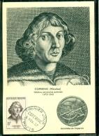 CM-Carte Maximum Card # 1957-FRANCE # Célébrités #  Astronomie-astronomy # Nicolas Copernic (Kopernikus) Paris - Cartes-Maximum